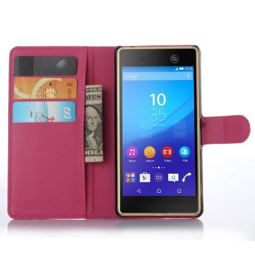Чехол портмоне подставка на пластиковой основе на магнитной защелке для Sony Xperia M5