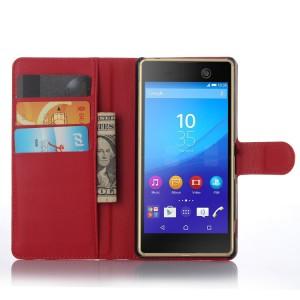 Чехол портмоне подставка на пластиковой основе на магнитной защелке для Sony Xperia M5  Красный