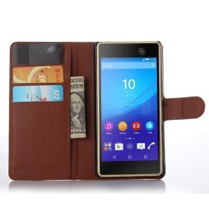 Чехол портмоне подставка на пластиковой основе на магнитной защелке для Sony Xperia M5  Коричневый