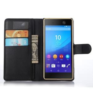 Чехол портмоне подставка на пластиковой основе на магнитной защелке для Sony Xperia M5  Черный