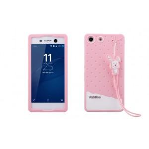 Силиконовый матовый непрозрачный дизайнерский фигурный чехол для Sony Xperia M5 Розовый