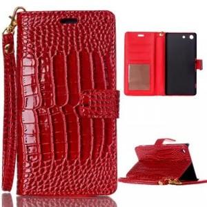 Чехол портмоне подставка текстура Крокодил на пластиковой основе на магнитной защелке для Sony Xperia M5  Красный