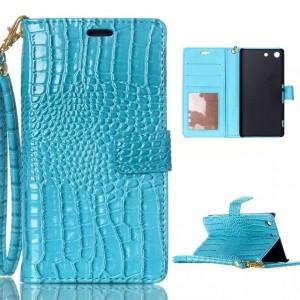 Чехол портмоне подставка текстура Крокодил на пластиковой основе на магнитной защелке для Sony Xperia M5  Голубой