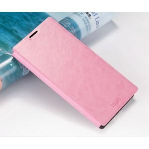 Глянцевый водоотталкивающий чехол горизонтальная книжка подставка на силиконовой основе для Sony Xperia M5 Розовый
