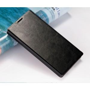 Глянцевый водоотталкивающий чехол горизонтальная книжка подставка на силиконовой основе для Sony Xperia M5 Черный