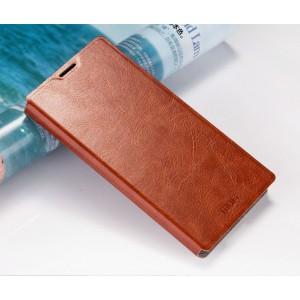 Глянцевый водоотталкивающий чехол горизонтальная книжка подставка на силиконовой основе для Sony Xperia M5 Коричневый