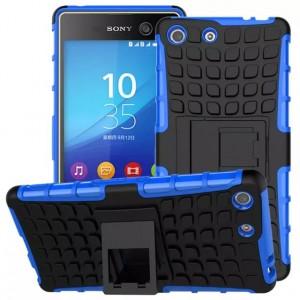 Противоударный двухкомпонентный силиконовый матовый непрозрачный чехол с поликарбонатными вставками экстрим защиты с встроенной ножкой-подставкой для Sony Xperia M5 Синий
