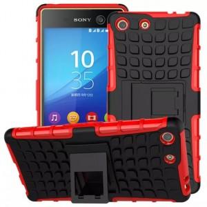 Противоударный двухкомпонентный силиконовый матовый непрозрачный чехол с поликарбонатными вставками экстрим защиты с встроенной ножкой-подставкой для Sony Xperia M5 Красный