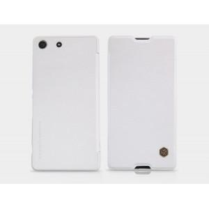 Винтажный чехол горизонтальная книжка на пластиковой основе с текстурным покрытием Кожа для Sony Xperia M5  Белый