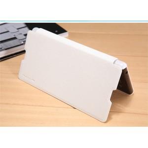 Чехол горизонтальная книжка на пластиковой нескользящей премиум основе с тканевым покрытием для Sony Xperia M5