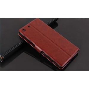 Винтажный чехол горизонтальная книжка подставка отсеком для карт на магнитной защелке для Sony Xperia M5 Коричневый
