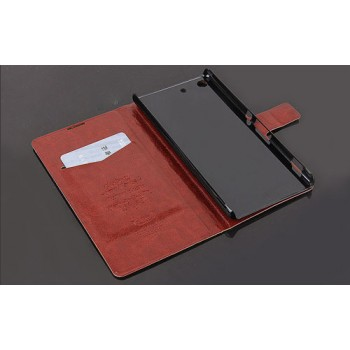 Винтажный чехол горизонтальная книжка подставка на пластиковой основе с отсеком для карт на магнитной защелке для Sony Xperia M5