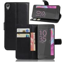 Чехол портмоне подставка на силиконовой основе на магнитной защелке для Sony Xperia E5 Черный