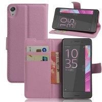 Чехол портмоне подставка на силиконовой основе на магнитной защелке для Sony Xperia E5 Розовый