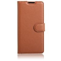 Чехол портмоне подставка на силиконовой основе на магнитной защелке для Sony Xperia E5 Коричневый