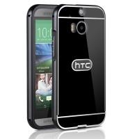 Двухкомпонентный чехол c металлическим бампером с поликарбонатной накладкой для HTC One (M8)  Черный
