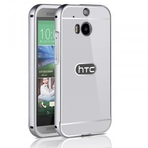 Двухкомпонентный чехол c металлическим бампером с поликарбонатной накладкой для HTC One (M8)  Белый