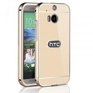 Двухкомпонентный чехол c металлическим бампером с поликарбонатной накладкой для HTC One (M8)  Бежевый