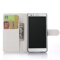 Чехол портмоне подставка на пластиковой основе на магнитной защелке для Huawei Honor 7 Белый