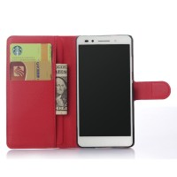 Чехол портмоне подставка на пластиковой основе на магнитной защелке для Huawei Honor 7 Красный