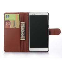 Чехол портмоне подставка на пластиковой основе на магнитной защелке для Huawei Honor 7 Коричневый