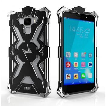 Цельнометаллический противоударный чехол из авиационного алюминия на винтах с мягкой внутренней защитной прослойкой для гаджета с прямым доступом к разъемам для Huawei Honor 7