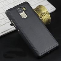 Силиконовый матовый непрозрачный чехол с текстурным покрытием Кожа для Huawei Honor 7  Черный