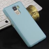 Силиконовый матовый непрозрачный чехол с текстурным покрытием Кожа для Huawei Honor 7  Голубой