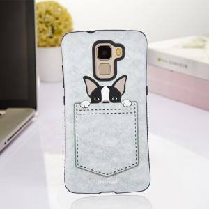 Силиконовый матовый непрозрачный чехол с нескользящими гранями и принтом для Huawei Honor 7  Белый