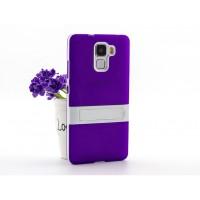 Двухкомпонентный силиконовый матовый непрозрачный чехол с поликарбонатным бампером и встроенной ножкой-подставкой для Huawei Honor 7 Фиолетовый