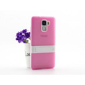 Двухкомпонентный силиконовый матовый непрозрачный чехол с поликарбонатным бампером и встроенной ножкой-подставкой для Huawei Honor 7 Розовый