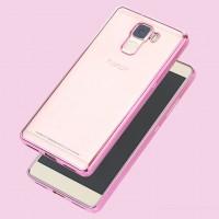 Силиконовый матовый полупрозрачный чехол с текстурным покрытием Металлик для Huawei Honor 7  Розовый
