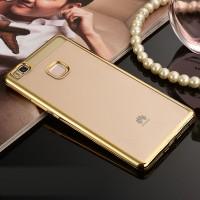 Силиконовый матовый полупрозрачный чехол с текстурным покрытием Металлик для Huawei P9 Lite  Бежевый