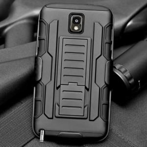 Противоударный двухкомпонентный силиконовый матовый непрозрачный чехол с нескользящими гранями и поликарбонатными вставками экстрим защиты с встроенной ножкой-подставкой для Samsung Galaxy Note 3