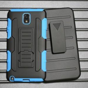Противоударный двухкомпонентный силиконовый матовый непрозрачный чехол с нескользящими гранями и поликарбонатными вставками экстрим защиты с встроенной ножкой-подставкой для Samsung Galaxy Note 3 Голубой