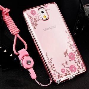 Силиконовый матовый полупрозрачный чехол с текстурным покрытием Металлик для Samsung Galaxy Note 3  Розовый