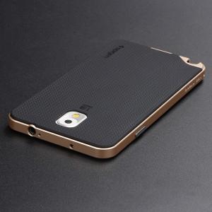 Двухкомпонентный силиконовый матовый непрозрачный чехол с поликарбонатным бампером для Samsung Galaxy Note 3 Бежевый