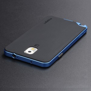 Двухкомпонентный силиконовый матовый непрозрачный чехол с поликарбонатным бампером для Samsung Galaxy Note 3 Синий