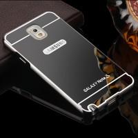 Двухкомпонентный чехол c металлическим бампером с поликарбонатной накладкой и зеркальным покрытием для Samsung Galaxy Note 3 Черный