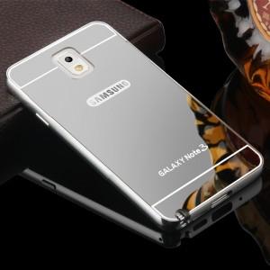 Двухкомпонентный чехол c металлическим бампером с поликарбонатной накладкой и зеркальным покрытием для Samsung Galaxy Note 3 Серый
