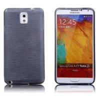 Силиконовый матовый полупрозрачный чехол металлик для Samsung Galaxy Note 3  Черный