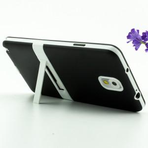 Двухкомпонентный силиконовый матовый полупрозрачный чехол с поликарбонатными бампером и крышкой и встроенной ножкой-подставкой для Samsung Galaxy Note 3  Черный