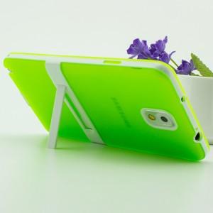 Двухкомпонентный силиконовый матовый полупрозрачный чехол с поликарбонатными бампером и крышкой и встроенной ножкой-подставкой для Samsung Galaxy Note 3  Зеленый
