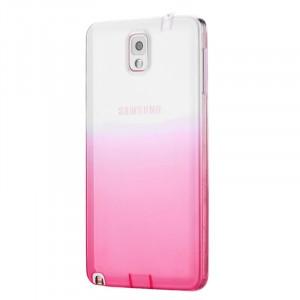 Силиконовый глянцевый полупрозрачный градиентный чехол для Samsung Galaxy Note 3  Розовый