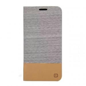 Текстурный чехол флип подставка на силиконовой основе с отделением для карт для Samsung Galaxy S6 Edge Plus Белый