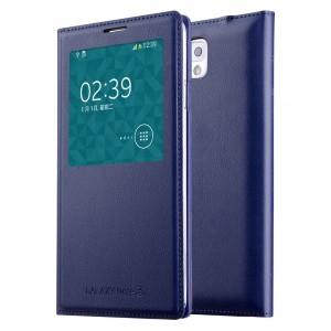 Чехол смарт флип на встраиваемой пластиковой основе с окном вызова для Samsung Galaxy Note 3