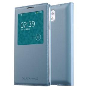 Чехол смарт флип на встраиваемой пластиковой основе с окном вызова для Samsung Galaxy Note 3 Голубой