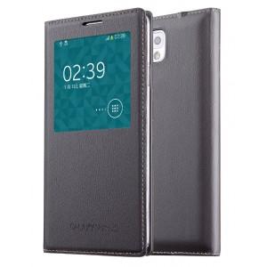 Чехол смарт флип на встраиваемой пластиковой основе с окном вызова для Samsung Galaxy Note 3 Серый