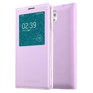 Чехол смарт флип на встраиваемой пластиковой основе с окном вызова для Samsung Galaxy Note 3 Розовый