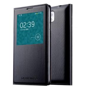 Чехол смарт флип на встраиваемой пластиковой основе с окном вызова для Samsung Galaxy Note 3 Черный